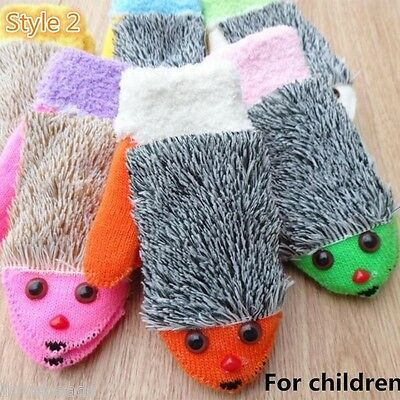 Kids Child Winter Knit Gloves Warm Hedgehog Heated Gloves Villus Mittens