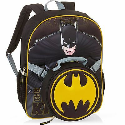 "DC Batman Dark Knight 16"" Full Size School Backpack with Detachable Lunch Bag"