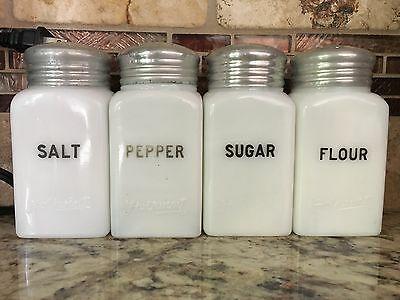 VINTAGE 1930s RANGE SET OF 4 HOTPOINT MILK GLASS SHAKERS SALT PEPPER SUGAR FLOUR