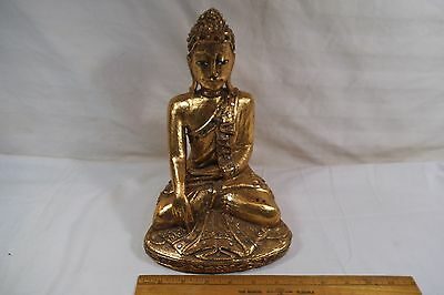 Thai Thailand Burmese Burma Carved Gilt Wood Statue of Buddha 10""