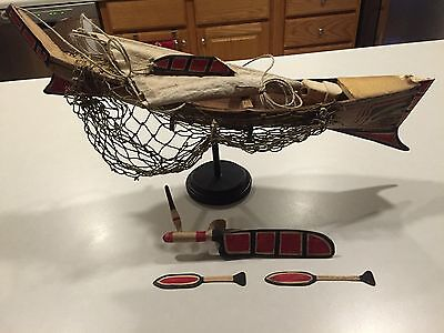 "Early Northwest Coast Whaling Boat Model ""Ex-Museum"" Polychrome Tlingit-Haida"