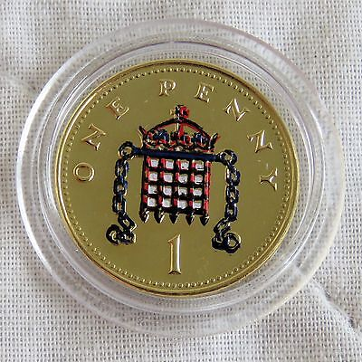 2006 Qeii One Pence Layered In Pure Gold And Accented In Full Colour