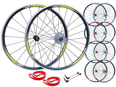 QR 700c Road Racing Bike Front Rear Wheel Set 7/8/9/10 Speed Shimano Lacing