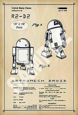 U.S. Patent Drawing Art Print R2-D2 Droid Star Wars Childs Play Room Poster