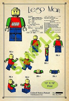 U.S. Patent Drawing Art Print Lego Toy Man Figure Play Room Poster Color
