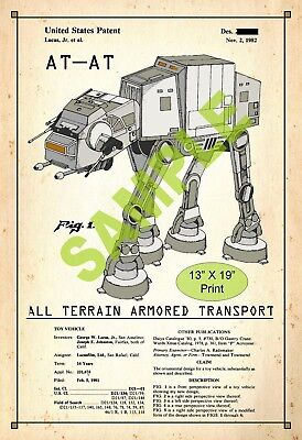 U.S. Patent Drawing Art Print AT-AT Star Wars Childs Play Room Poster Color