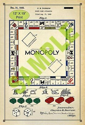 U.S. Patent Drawing Art Print Monopoly Board Game Child Play Room Poster Color