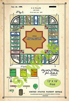 U.S. Patent Drawing Art Print Landlord Board Game Monopoly Play Room Poster