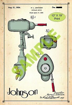 U.S. Patent Drawing Art Print Johnson Outboard Boat Motor 1 Sports Room Poster