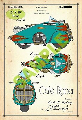 U.S. Patent Drawing Art Print Cafe Racer Motorcycle Childs Play Room Poster