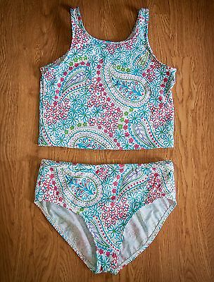 *NEW with tags* LAND'S END girls swimsuit size 14+, NWT white blue crop tankini