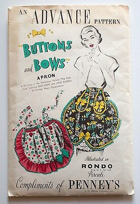 1940s 1950s Vintage Advance Sewing Pattern Uncut Misses Ruffled Cocktail Apron