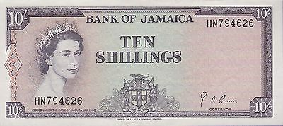 Jamaica 10 Shillings Banknote,(1964) About Uncirculated Condition Cat#51B-E-4626