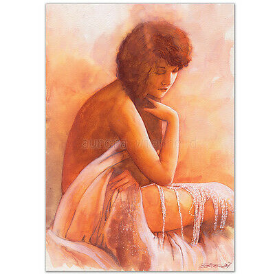 "ORIGINAL AQUARELL ""Love story"" WATERCOLOR PORTRAIT AKT NUDE NU FEMME VINTAGE ART"