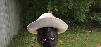 Painted Concrete Hat....only.....for Jr Fishing Boy Statue...white Or Black Boy