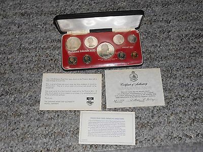 1970 Bahamas 9 Coin Silver Proof Set All Original Packaging 22,827 Sets Minted