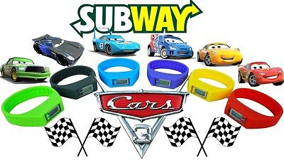 Disney Pixar Cars 3 * Subway kids meal promo toy watches COMPLETE SET of 6