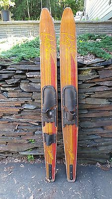 """ANTIQUE Set of Wooden 68"""" Long Waterskis  Water Skis PROFILE CYPRESS GARDENS"""