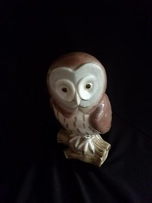 Lladro medium brown china owl made in Spain by Lladro in 1986 Daisa retired 1990