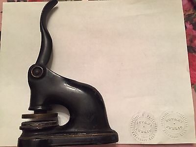 Collectible Vintage Antique Black Cast Iron Notary Public Seal Embossing Stamp