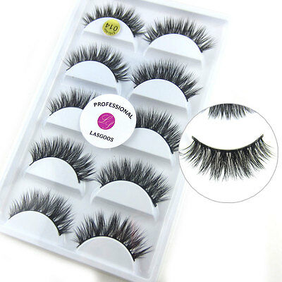 100% Real Mink Fur 3D False Eyelashes Cross Wispy Fake Eye Lashes 5 Pairs