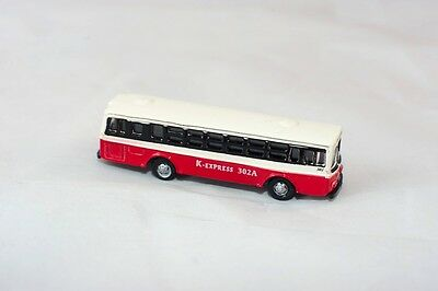 N Scale 1:160 Scale Model Metal N Scale Bus K-Express 302A Red And White