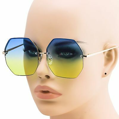 Wholesale Lots 12 Pairs Women Octagon Sunglasses With Colorful Oceanic Lens NEW
