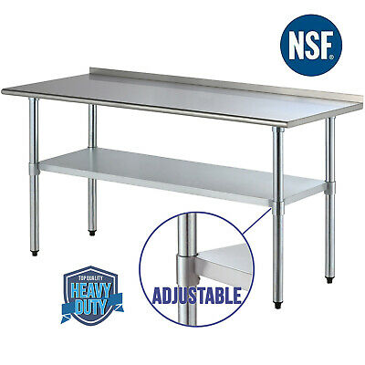 "30"" x 72"" Stainless Steel Work Table Food Prep Kitchen Restaurant w/ Backsplash"