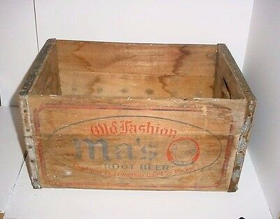 Vintage Ma's Cola Root Beer Wooden Crate Metal Straps Case Box Advertising Soda