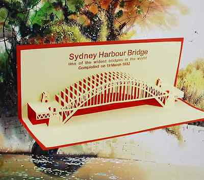 *Sydney Harbour Bridge* Pop Up 3D Handmade Greeting Card with Envelope Red