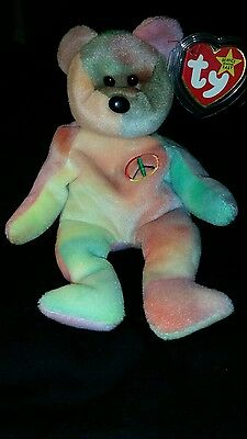 "RARE Ty beanie babies ""Peace"" bear with 3 tag errors"