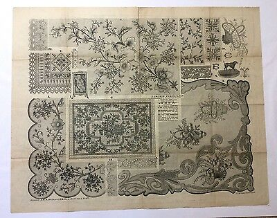 """Antique large Russian embroidery & dress paper pattern/chart 31""""x25"""" 1888 [p6]"""