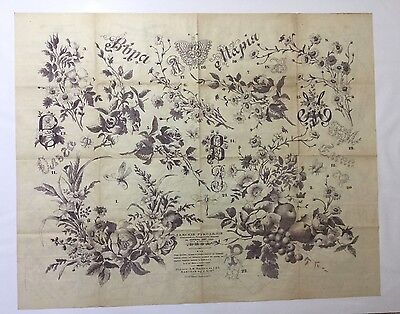 """Antique large Russian embroidery & dress paper pattern/chart 31""""x25"""" 1887 [p4]"""