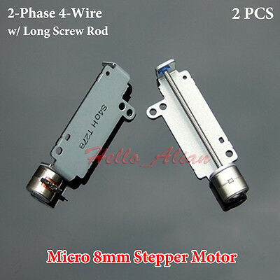 2PCS Micro 2-Phase 4-Wire 8mm Stepper Motor Precision linear screw Shaft Rod DIY