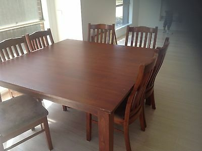 Sqaure Timber Dining Table and Chairs - 8 seater