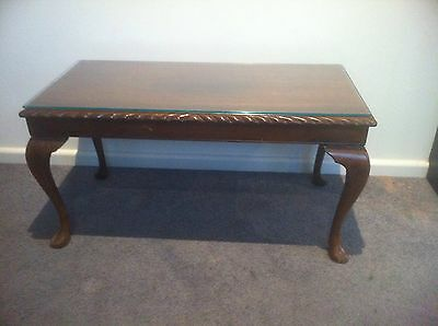 Vintage Queen Anne Coffee Table. Glass Top. Very Good Condition