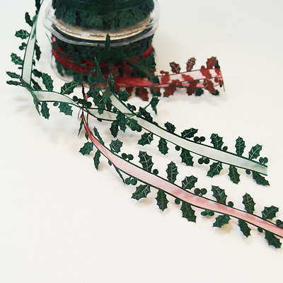 1 Metre 38mm Green Satin Holly Edge Sheer Centre Ribbon Trim Christmas
