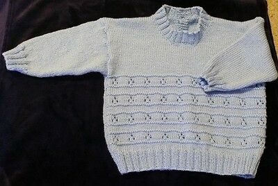 Blue Jumper With Shiny Thread & Lacey Pattern On The Front (Size 2 -3)