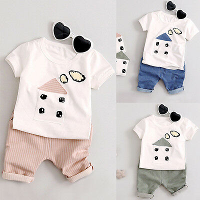 Summer Toddler Baby Girl Boy Tops T-shirt+Shorts Pants Casual Party Suit Clothes