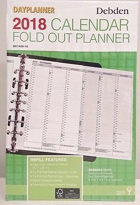 2018 Desk Dayplanner Refill Monthly Fold-Out Planner DK1400-18 (7Ring) 216x140mm