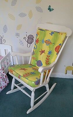 Rocking Chair Baby Nursery White Wood Shabby Chic Country Home Nursing