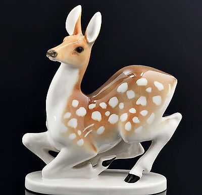 Big Young Deer Doe Porcelain Figurine Lomonosov Vintage Russian USSR Sculpture