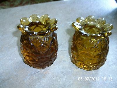 Vintage Pair Thick Amber Glass Pinneaple Toothpick Holders
