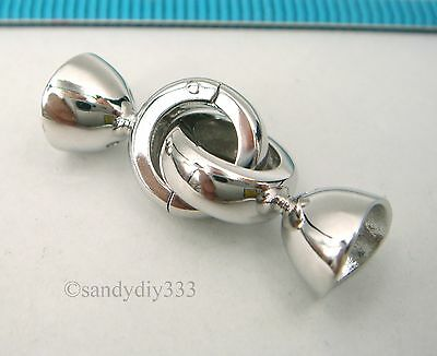 1x Rhodium plated STERLING SILVER BEADING CORD END CAP CONNECTOR CLASP #2524