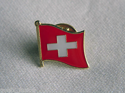Switzerland Swiss Flag Country Metal Lapel Pin Badge