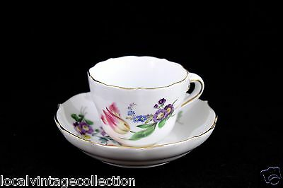 Meissen Hand Painted Demitasse Cup And Saucer Set – Floral Design