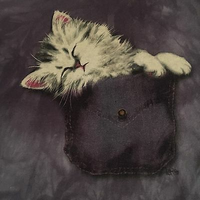 too cute SLEEPING KITTEN IN POCKET t shirt by THE MOUNTAIN - looks UNUSED - (L)