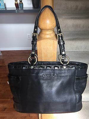 Coach Black Leather Gallery Tote Handbag With Patent Leather Detail Purse