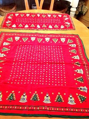Vintage Made In Austria  Set/2-Table Runner/table Cloth  Red/tree Angel Star