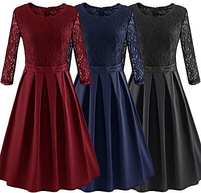 Women's Vintage Lace Floral Style Rockabilly Casual Evening Party Swing Dress